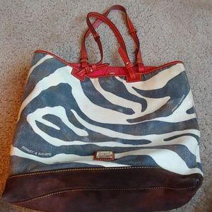 Vintage Dooney & Bourke canvas zebra pattern